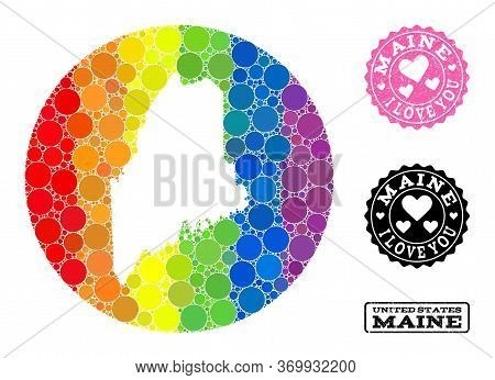 Vector Mosaic Lgbt Map Of Maine State With Round Spots, And Love Rubber Seal. Stencil Round Map Of M