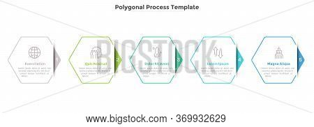 Progress Bar Or Process Chart With Five Hexagonal Paper White Elements. Concept Of 5 Successive Step