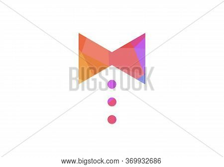 Tie Icon Black Flat Vector Illustration On White Background. Geometric Tie, Low Poly Tie Logo