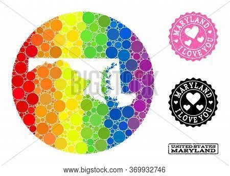 Vector Mosaic Lgbt Map Of Maryland State With Round Items, And Love Watermark Seal. Subtraction Roun