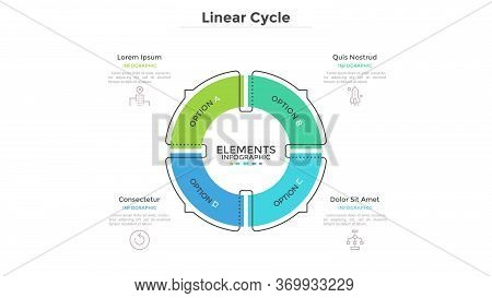 Circular Cyclic Diagram Divided Into 4 Colorful Sectors With Arrows Or Pointers. Concept Of Four Ste