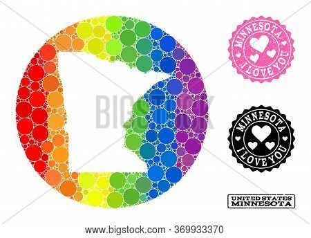 Vector Mosaic Lgbt Map Of Minnesota State Of Round Dots, And Love Scratched Stamp. Hole Round Map Of