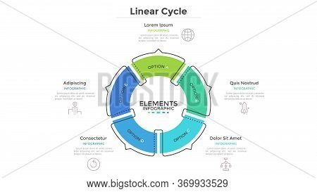 Circular Cyclic Diagram Divided Into 5 Colorful Sectors With Arrows Or Pointers. Concept Of Five Ste