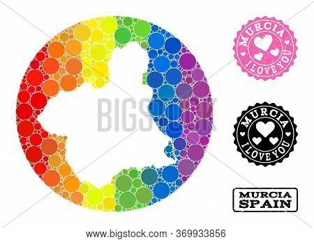 Vector Mosaic Lgbt Map Of Murcia Province With Circle Items, And Love Scratched Seal Stamp. Subtract