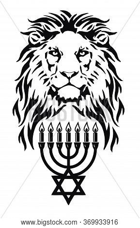 The Lion And The Symbol Of Judaism - Star Of David, Megan David And Menorah,   Drawing For Tattoo, O