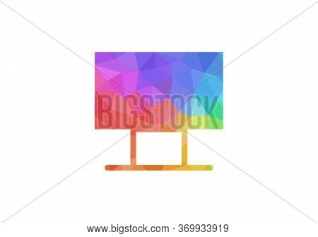 Beautiful And Abstract Tv Logo/icon Vector Illustration Isolated On White Background. Low Poly Tv Lo