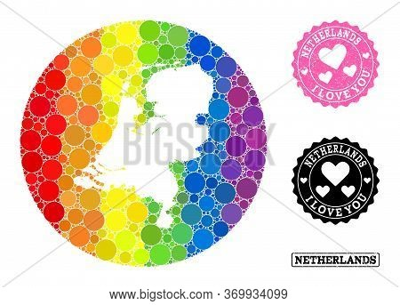 Vector Mosaic Lgbt Map Of Netherlands With Round Spots, And Love Watermark Seal. Stencil Circle Map