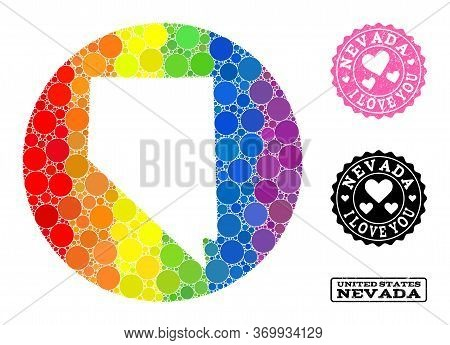 Vector Mosaic Lgbt Map Of Nevada State Of Round Dots, And Love Scratched Seal Stamp. Hole Round Map