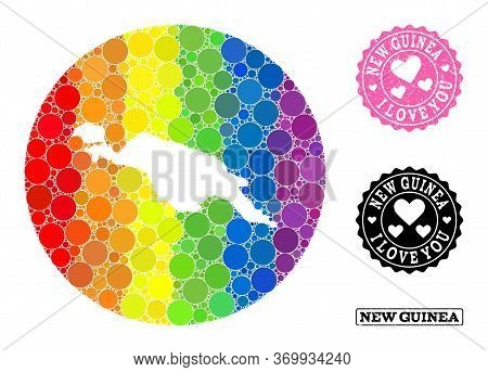Vector Mosaic Lgbt Map Of New Guinea Island With Round Elements, And Love Scratched Stamp. Hole Circ