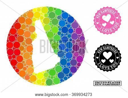 Vector Mosaic Lgbt Map Of New Hampshire State With Round Elements, And Love Grunge Seal. Hole Circle