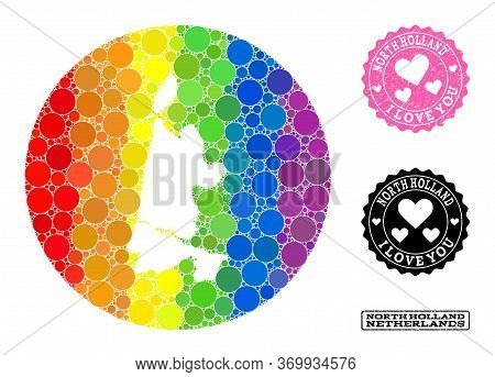 Vector Mosaic Lgbt Map Of North Holland With Round Items, And Love Rubber Seal Stamp. Hole Round Map