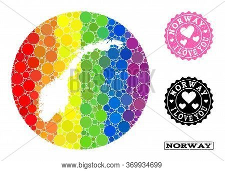 Vector Mosaic Lgbt Map Of Norway With Spheric Dots, And Love Watermark Stamp. Hole Round Map Of Norw