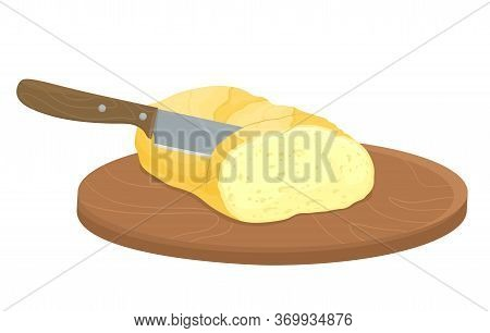 Slicing Bread With A Knife. Manual Cutting Of Products. Baguette Bread. Vector Illustration In Flat