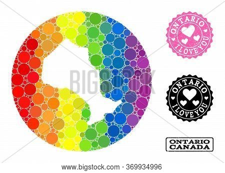 Vector Mosaic Lgbt Map Of Ontario Province With Round Dots, And Love Grunge Seal. Subtraction Circle