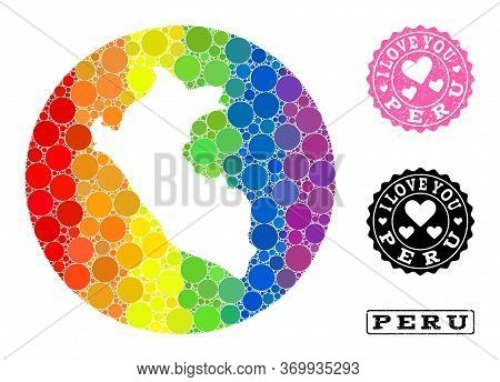 Vector Mosaic Lgbt Map Of Peru Of Round Spots, And Love Scratched Seal Stamp. Stencil Round Map Of P