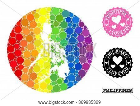 Vector Mosaic Lgbt Map Of Philippines With Circle Items, And Love Grunge Seal Stamp. Subtraction Rou