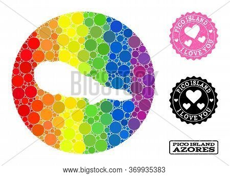 Vector Mosaic Lgbt Map Of Pico Island With Spheric Spots, And Love Rubber Stamp. Stencil Circle Map