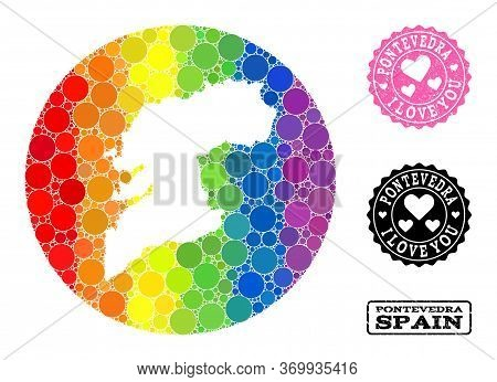 Vector Mosaic Lgbt Map Of Pontevedra Province With Spheric Elements, And Love Grunge Stamp. Stencil