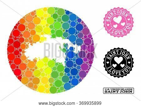 Vector Mosaic Lgbt Map Of Saint John Island Of Circle Elements, And Love Rubber Seal Stamp. Hole Cir