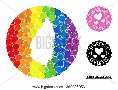 Vector Mosaic Lgbt Map Of Saint Lucia Island With Round Spots, And Love Grunge Seal. Hole Round Map