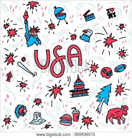 Hand-drawn Symbols Of The United States With Lettering. Doodle Style Illustration, Statue Of Liberty