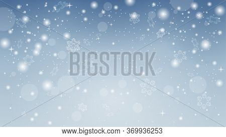 Snowflakes Shine In The Light. Abstract Snowflake Background. Snow Background. Winter Snowfall. Whit