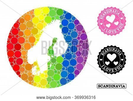 Vector Mosaic Lgbt Map Of Scandinavia With Circle Items, And Love Watermark Seal Stamp. Subtraction