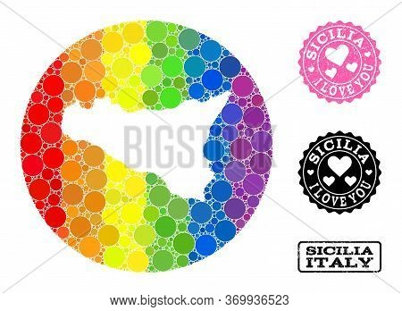 Vector Mosaic Lgbt Map Of Sicilia Island Of Round Dots, And Love Grunge Seal. Subtraction Round Map