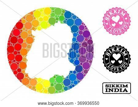 Vector Mosaic Lgbt Map Of Sikkim State From Spheric Blots, And Love Scratched Seal Stamp. Subtractio