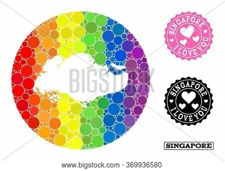 Vector Mosaic Lgbt Map Of Singapore From Circle Elements, And Love Rubber Stamp. Hole Circle Map Of