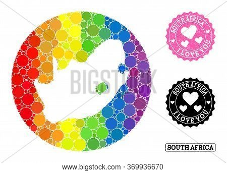 Vector Mosaic Lgbt Map Of South African Republic With Spheric Blots, And Love Watermark Seal. Hole R