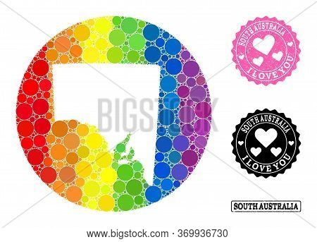 Vector Mosaic Lgbt Map Of South Australia Of Round Dots, And Love Rubber Seal Stamp. Stencil Round M