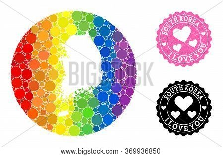 Vector Mosaic Lgbt Map Of South Korea With Circle Elements, And Love Watermark Stamp. Hole Circle Ma