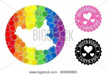 Vector Mosaic Lgbt Map Of South Sudan From Round Items, And Love Scratched Seal. Subtraction Round M