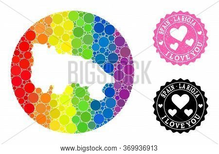 Vector Mosaic Lgbt Map Of Spain - La Rioja Of Circle Elements, And Love Rubber Stamp. Subtraction Ci