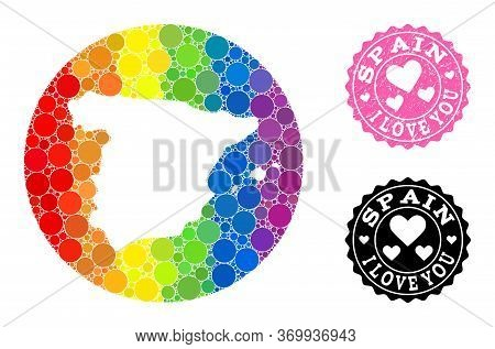 Vector Mosaic Lgbt Map Of Spain With Spheric Spots, And Love Rubber Seal Stamp. Subtraction Circle M