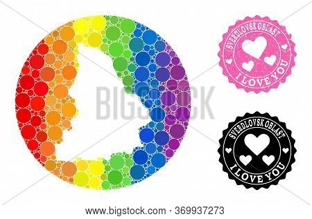 Vector Mosaic Lgbt Map Of Sverdlovsk Region With Spheric Blots, And Love Grunge Stamp. Hole Circle M