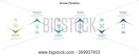 Horizontal Zigzag Timeline With Six Colorful Staggered Arrows Or Pointers. Concept Of 6 Milestones O