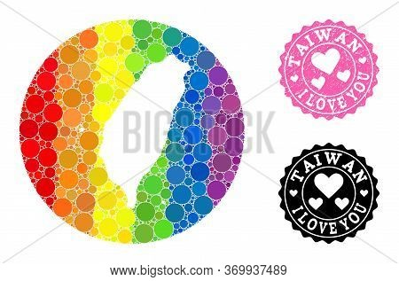 Vector Mosaic Lgbt Map Of Taiwan With Round Dots, And Love Scratched Seal Stamp. Hole Round Map Of T