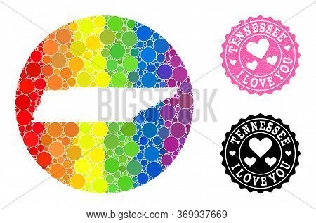 Vector Mosaic Lgbt Map Of Tennessee State Of Circle Blots, And Love Grunge Seal Stamp. Stencil Round