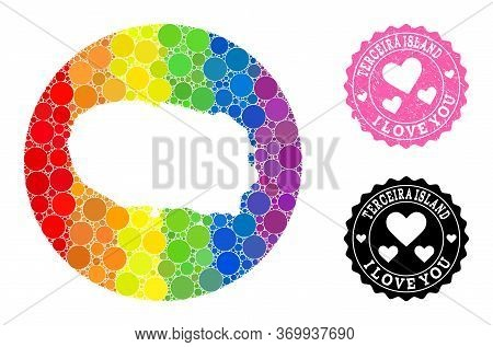Vector Mosaic Lgbt Map Of Terceira Island Of Spheric Items, And Love Grunge Seal. Subtraction Round