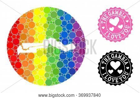 Vector Mosaic Lgbt Map Of The Gambia With Circle Blots, And Love Scratched Stamp. Subtraction Circle