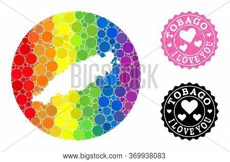 Vector Mosaic Lgbt Map Of Tobago Island Of Round Blots, And Love Scratched Seal Stamp. Stencil Round