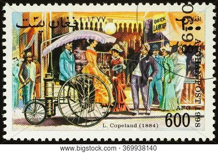 Moscow, Russia - June 02, 2020: Stamp Printed In Afghanistan Shows Retro Car By American Inventor Lu