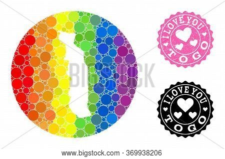 Vector Mosaic Lgbt Map Of Togo From Round Dots, And Love Watermark Seal. Stencil Round Map Of Togo C