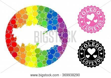 Vector Mosaic Lgbt Map Of Toledo Province With Circle Elements, And Love Scratched Stamp. Subtractio