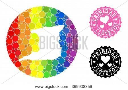 Vector Mosaic Lgbt Map Of Trinidad Island From Circle Elements, And Love Grunge Seal Stamp. Subtract