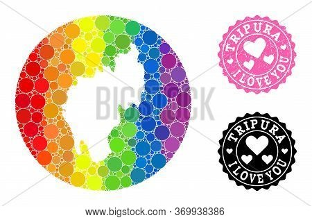 Vector Mosaic Lgbt Map Of Tripura State With Round Blots, And Love Rubber Stamp. Stencil Round Map O