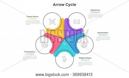 Circular Cyclic Chart Divided Into 5 Colorful Sectors. Concept Of Five Steps Or Stages Of Business C