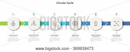 Horizontal Chart With 6 Round Paper White Elements. Concept Of Six Successive Steps Of Business Stra
